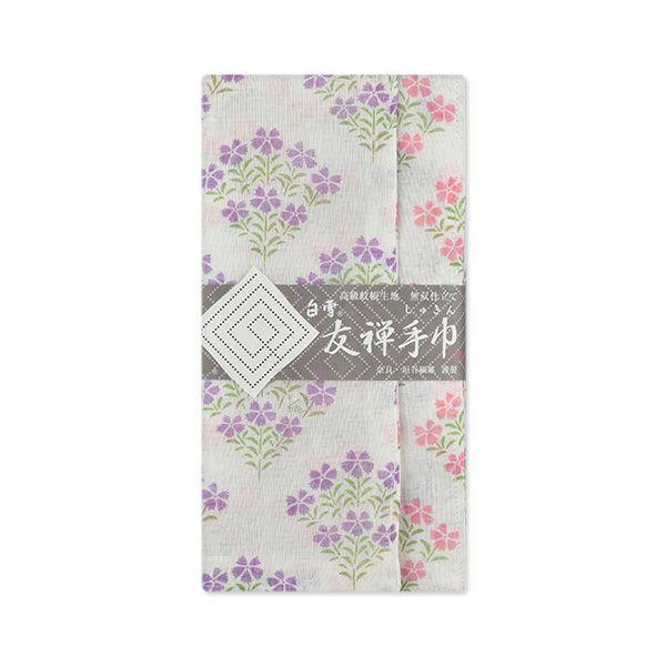 白雪友禅手巾 / なでしこ / パープル+ピンク