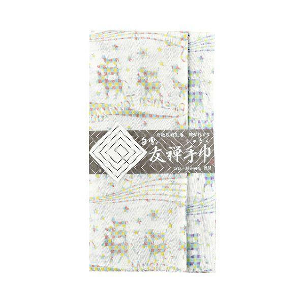 白雪友禅手巾 / ブレーメンの音楽隊 / クリーム+ブルー